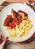 French fries with cordon bleu