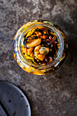 Pickled mussels in a jar