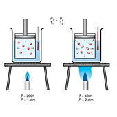 Gay Lussac's pressure-temperature gas law, illustration