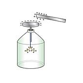 Gold leaf electroscope, illustration