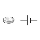 Electric cell and circuit symbol, illustration