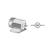 Electric motor and circuit symbol, illustration