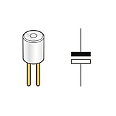 Electrolytic capacitor and circuit symbol, illustration