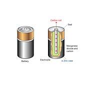 Zinc-carbon battery, illustration