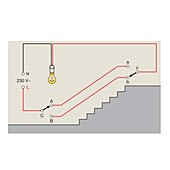 Lighting circuit with two-way switches, illustration