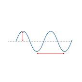 Wavelength and amplitude, illustration