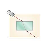 Refraction in glass, illustration