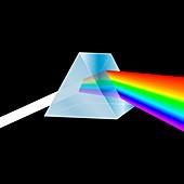 Prism refracting light into a spectrum, illustration