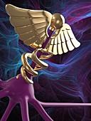 Nerve cell and medical symbol, illustration