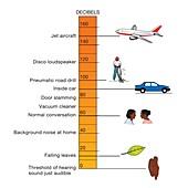 Decibel sound scale, illustration