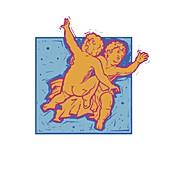 Gemini zodiac sign , illustration