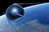 Sputnik 1 in Earth orbit, illustration