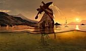 Spinosaurus dinosaur with prey