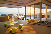 Water and limes on luxury home showcase kitchen counter