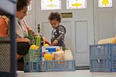 Baby daughter watching mother unpack groceries