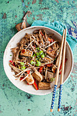 Soba noodles with tofu, bell pepper and mung bean sprouts
