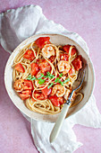 Spaghetti with tomatoes and shrimps
