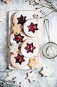 Gluten-free vegan cookies layered with jam