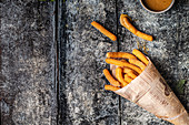 Vegan churros with salted caramel