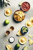 Nacho chips, salsa and tequila with lime an salt