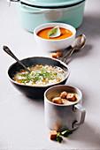 Erbsensuppe mit Croutons, Gemüsesuppe und Tomatensuppe