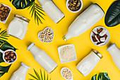 Milchersatzgetränke und Zutaten auf gelbem Untergrund