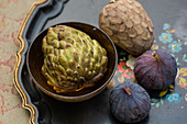 Custard apple fruits and figs
