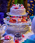 Festively set table with a cake stand