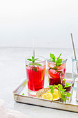 Summer cocktails with berries