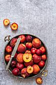 Tablett mit geschnittenen Pfirsichen und Pflaumen