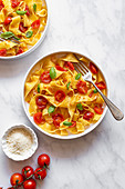 Tagliatelle served with Cherry Tomatoes, Basil and Parmesan