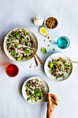 Blueberry Fennel Salad topped with Maple Toasted Seeds and Coconut Lemon Vinaigrette