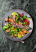 Orange and grapefruit salad with pomegranate seeds