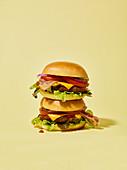 Zwei Cheeseburger, gestapelt