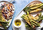 Toasted cheese and asparagus on sourdough with rainbow salad