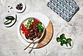 Mexican jalapeno steak bowl