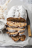 Stollen - German Christmas bread with nuts, spices and candied fruit