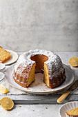 Lemon cake with icing sugar
