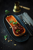Stuffed butternut squash with vegetarian minced meat