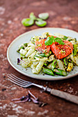 Pasta with asparagus, pickled salmon and lime
