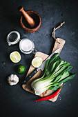 Bok Choy, Lime, Garlic and Chili Pepper