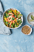 Asian style prawn salad with grilled corn and cashew nut dressing