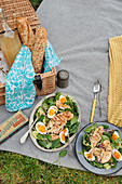 Chicken and egg spinach salad with mustard dressing