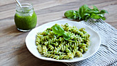 Spelt fusilli with parsley and almond pesto