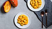 Vegan gnocchi with pumpkin sauce