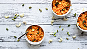Indian halva with carrots, cashew nuts and pistachios