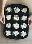 Unbaked breakfast muffins