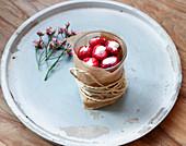 Stuffed raspberries filled with Greek yoghurt and honey