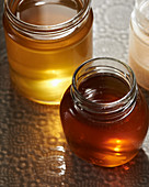 Different kinds of honey in jars