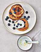 Oat pancakes with blueberries and yoghurt